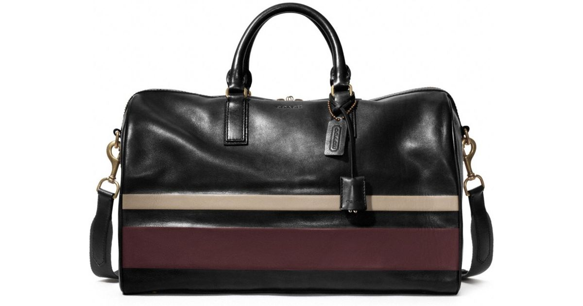 0fb8242a91 ... bag in debossed painted stripe leathe fb265 d505b wholesale lyst coach  bleecker debossed stripe duffle in black for men db1a8 c8ce8 ...