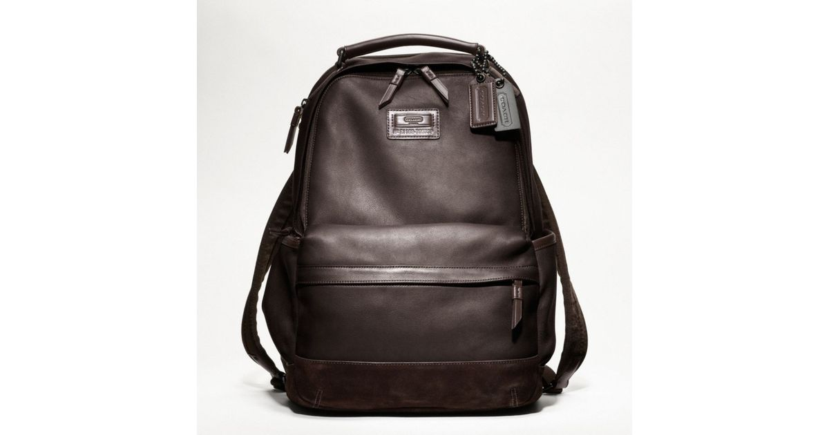 292519e39e88 Lyst - COACH Rivington Leather Backpack in Brown for Men