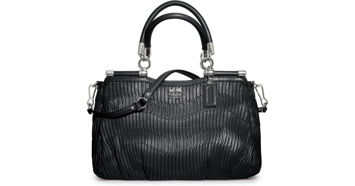 Coach Madison Gathered Leather Carrie In Black Lyst