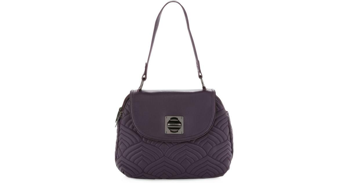 21832345b9aa Lyst - Adrienne Vittadini Piaz Napa Shoulder Bag Eggplant in Purple