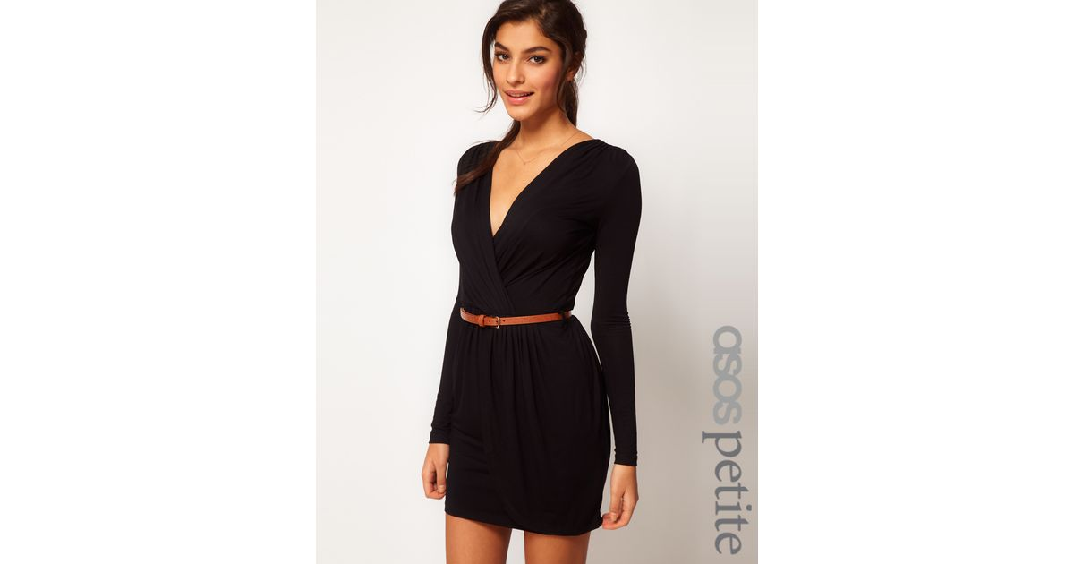 Lyst Asos Wrap Dress With Long Sleeves And Belt In Black
