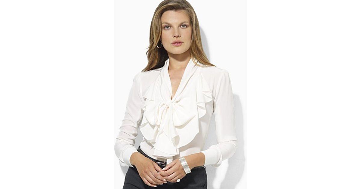 ef071326f62958 Ralph Lauren Long Sleeve Ruffled Silk Blouse in White - Lyst