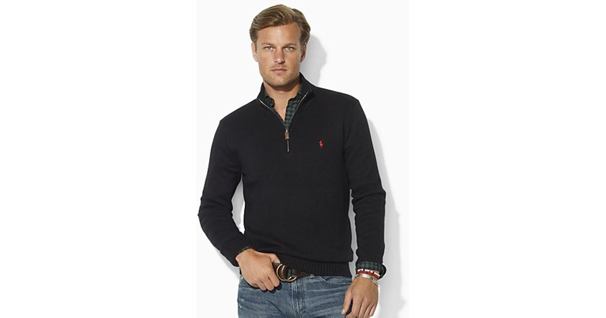 Ralph lauren Polo Longsleeved Cotton Halfzip Sweater in Blue for Men (polo black) | Lyst