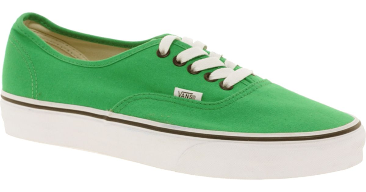 826bdab7b05e Lyst - Vans Authentic Classic Green Black Lace Up Trainers in Green