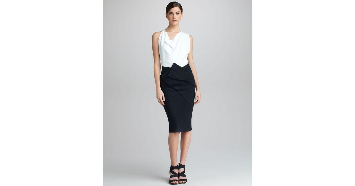 d257963e5fbca6 Lyst - Donna Karan Draped Pull-on Skirt in Black