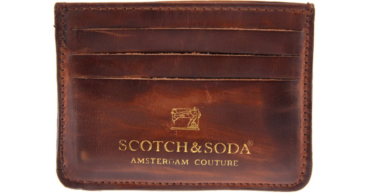lyst scotch soda leather card holder in brown for men - Card Holder