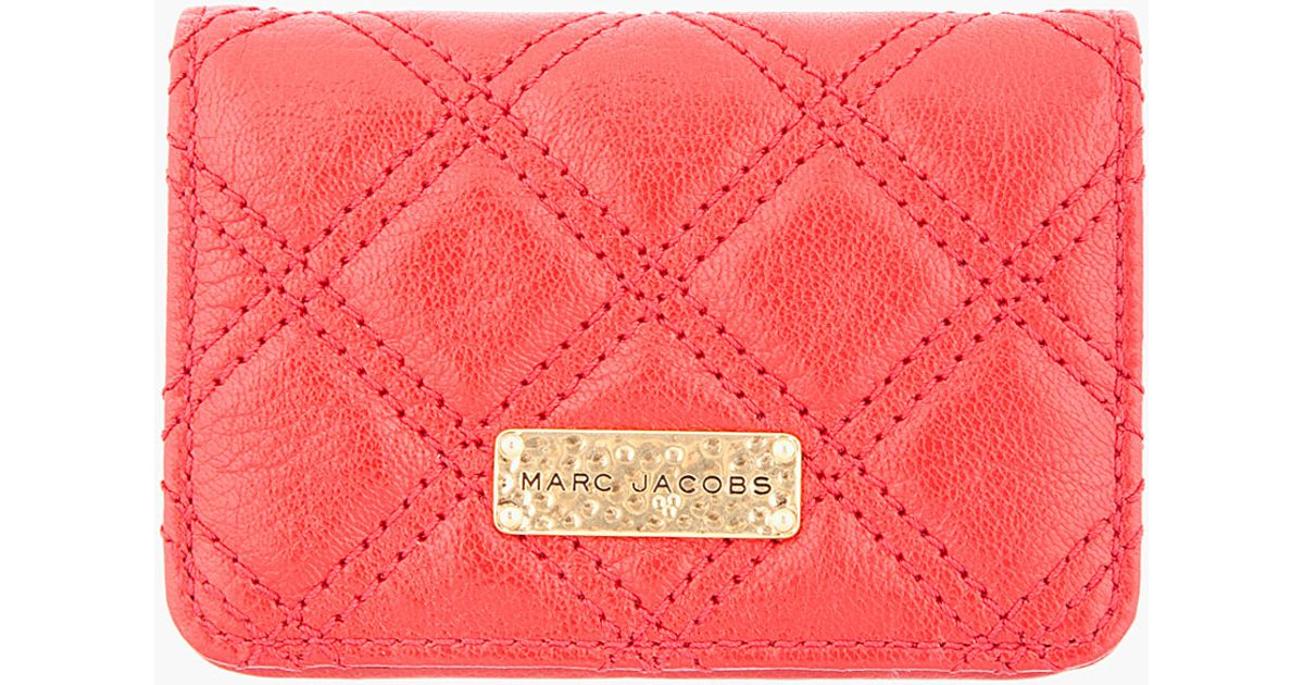 Lyst marc jacobs quilted red leather business card holder in red colourmoves