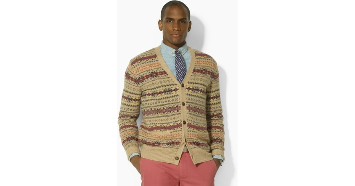 Lyst - Polo ralph lauren Fair Isle V-neck Cardigan in Natural for Men