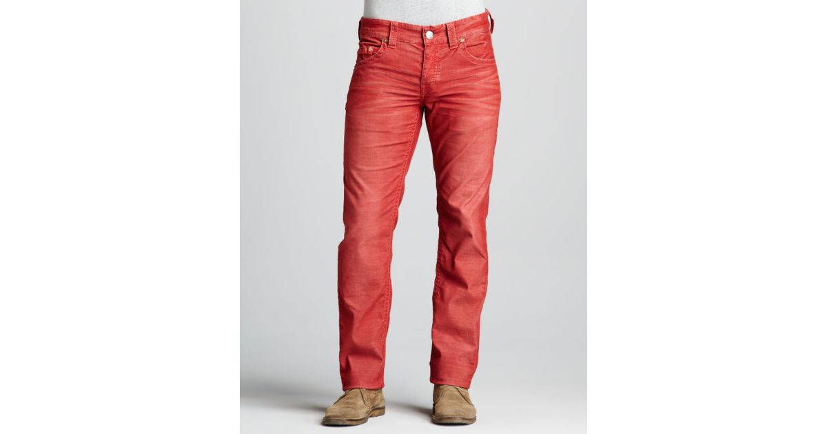 cheap price new collection online shop True Religion Red Geno Slim Corduroy Pants for men