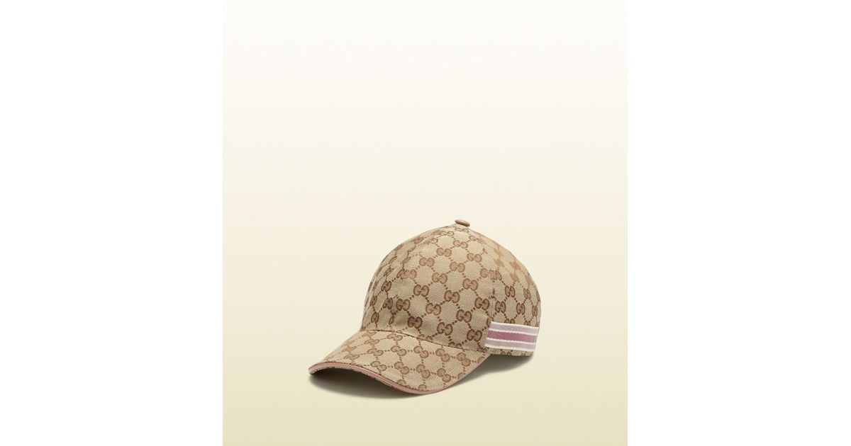 185de27e Gucci Original Gg Canvas Baseball Hat with Ribbon Detail in Natural - Lyst