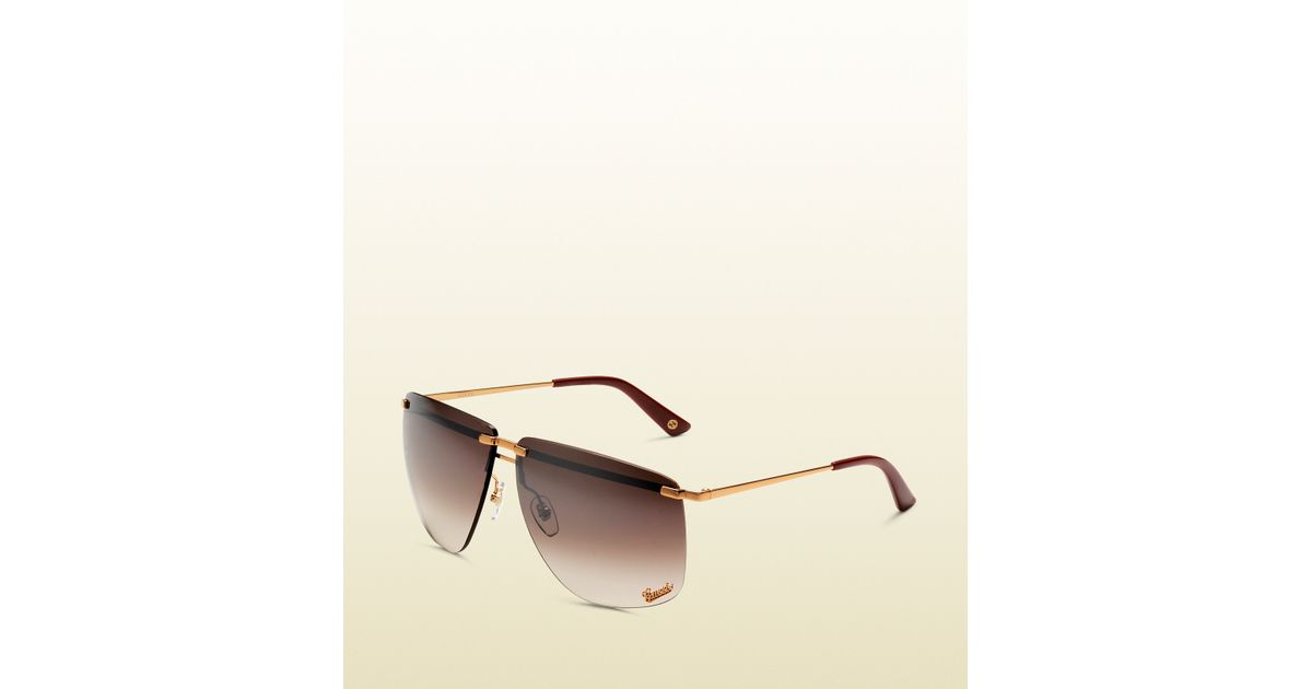 ea0e5f28d99 Lyst - Gucci Womens 80s Style Copper Gold Sunglasses in Brown