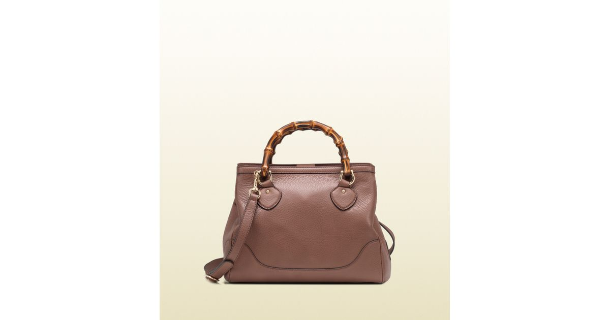 af5ebcac1050 Gucci Diana Pink Tan Leather Top Handle Bamboo Tote in Brown - Lyst