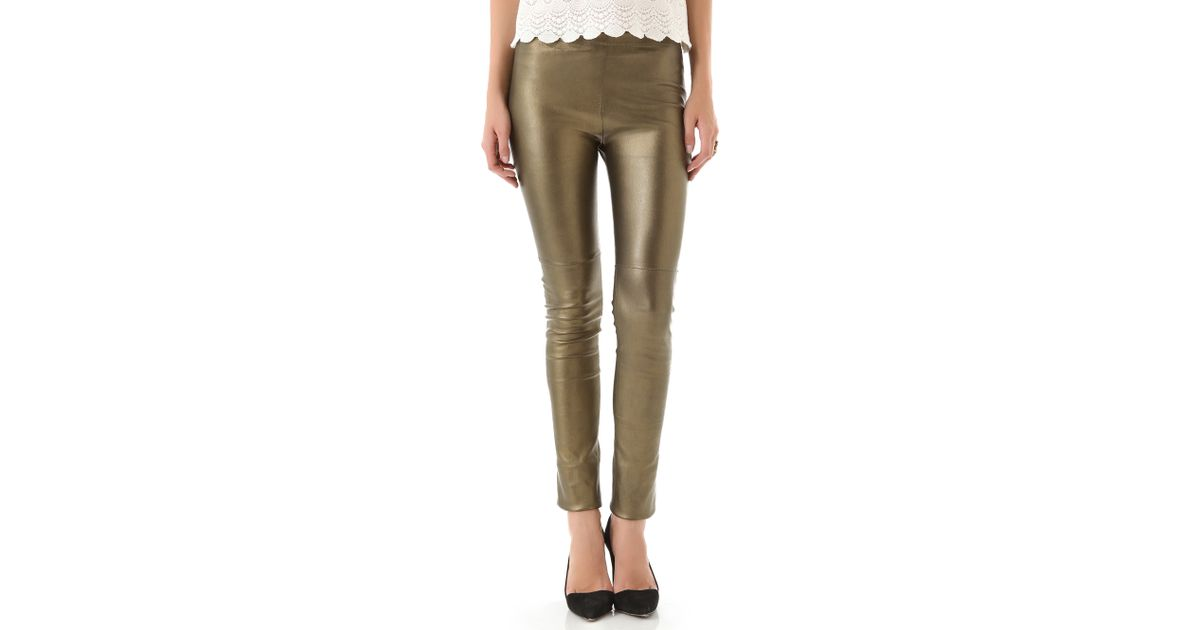 42bb8d818d599d Lyst - Mes Demoiselles Esther Metallic Leather Pants in Metallic