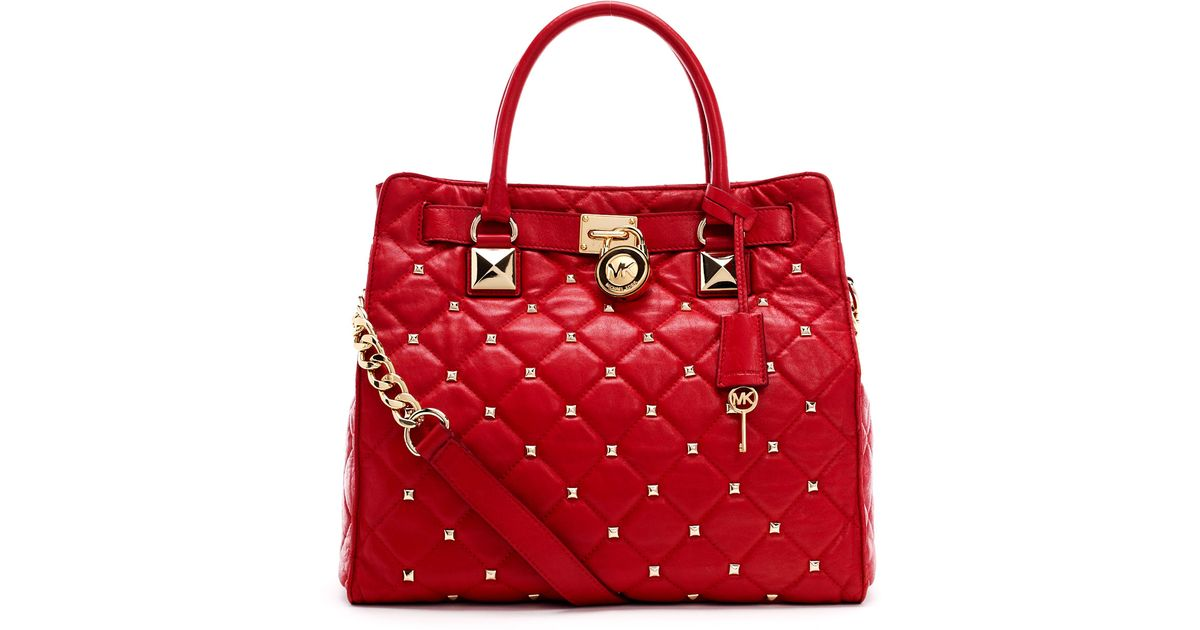 e25f7779ad1a Michael Kors Large Hamilton Studded Quilted Tote in Red - Lyst