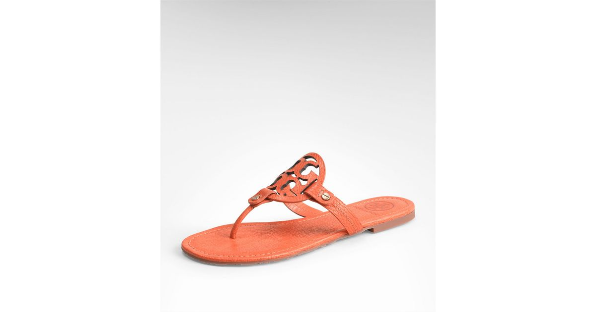 ca7578495 Lyst - Tory Burch Tumbled Leather Miller Sandal in Orange