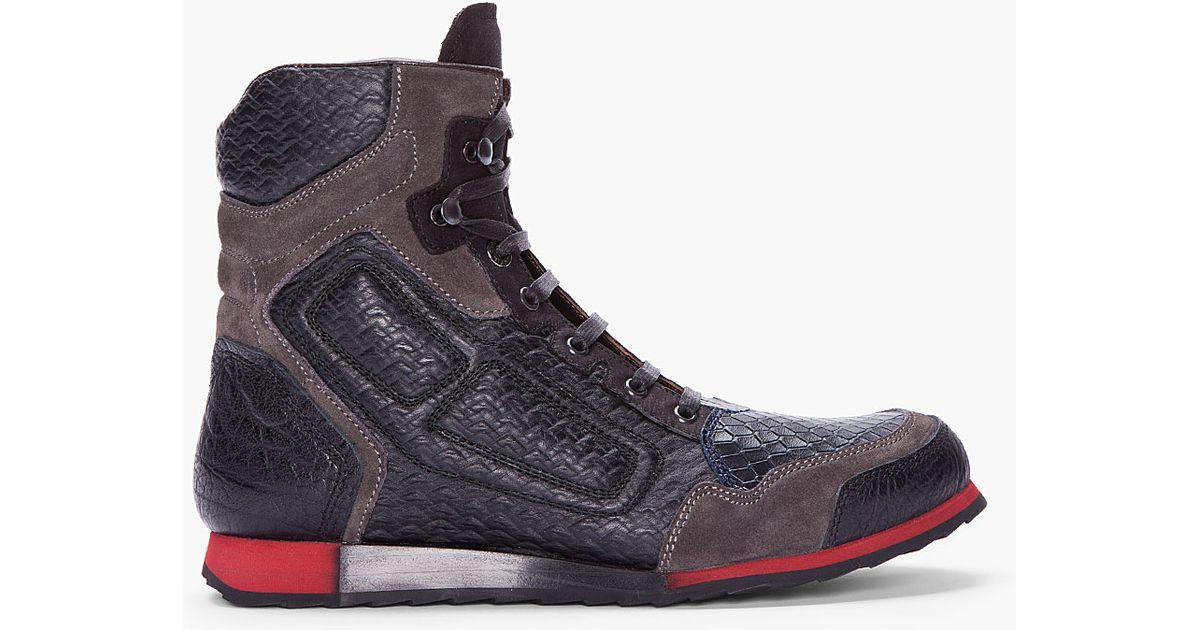 Lyst Lanvin Black Snakeskin Hightop Tennis Shoes In Black For Men
