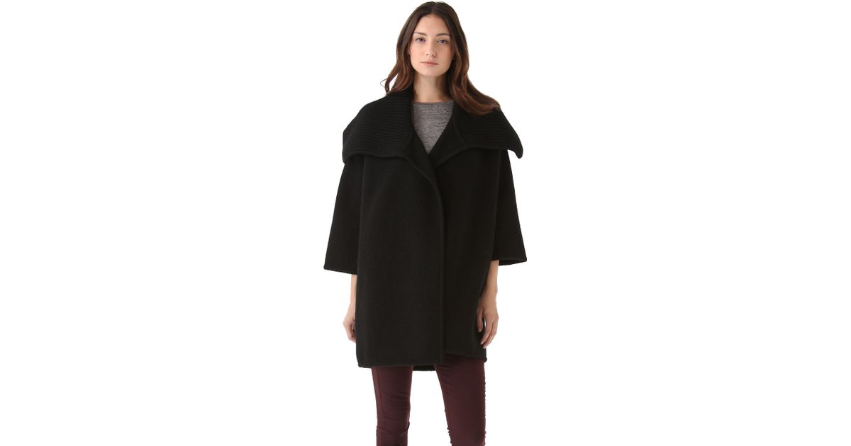 Lyst Vince Boiled Wool Sweater Coat In Black