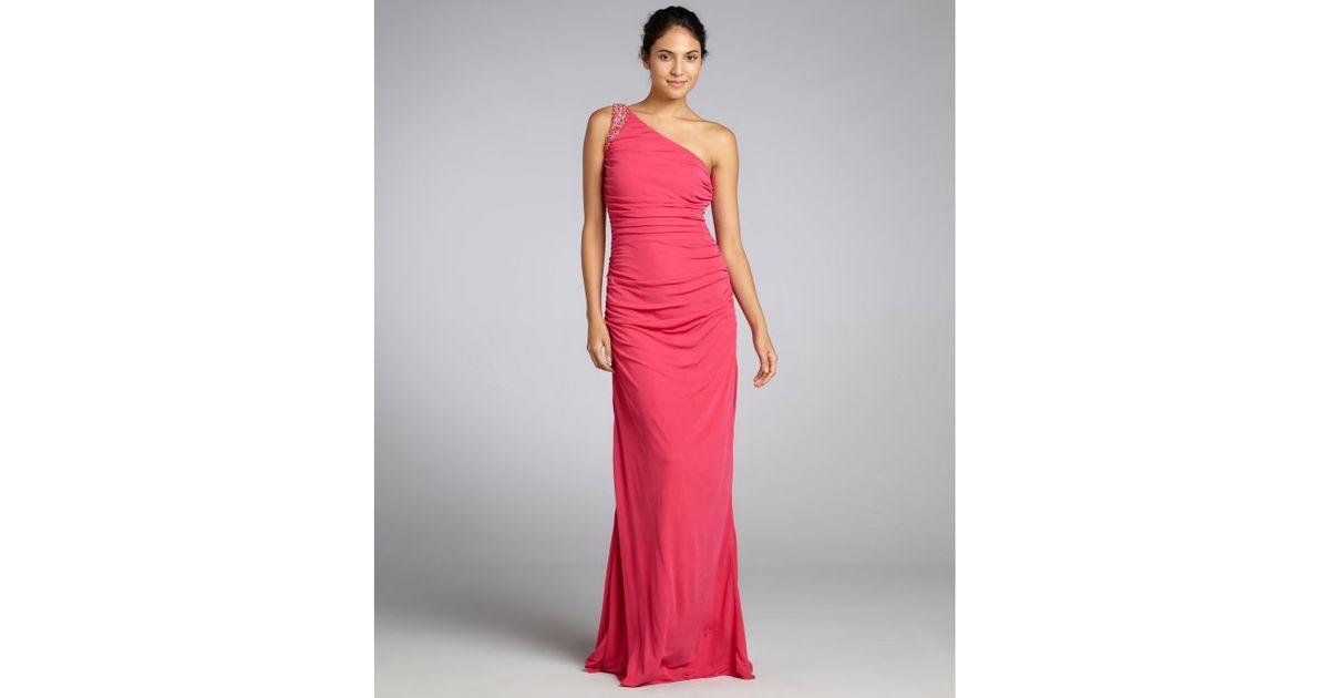 Badgley mischka Hot Pink Knit Jersey Embellished One Shoulder ...