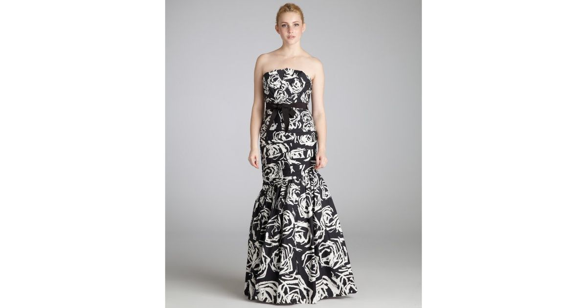 Lyst - Ml Monique Lhuillier Black and White Rose Printed Cottonsilk ...