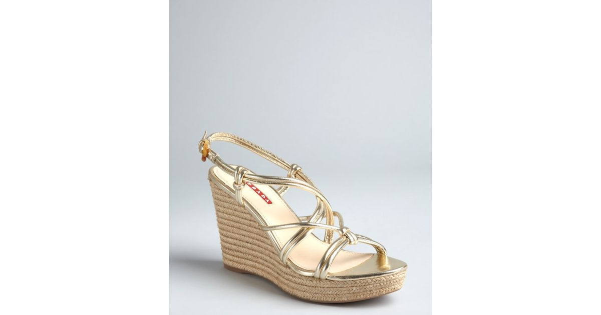 buy cheap classic Prada Sport Leather Espadrille Wedge Sandals clearance Inexpensive free shipping get to buy nybH2Xd3t