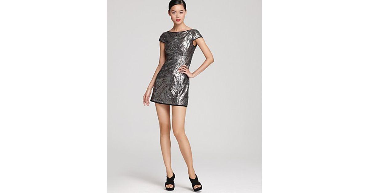 Nanette lepore Dress Society Sheath Sequin in Metallic  Lyst