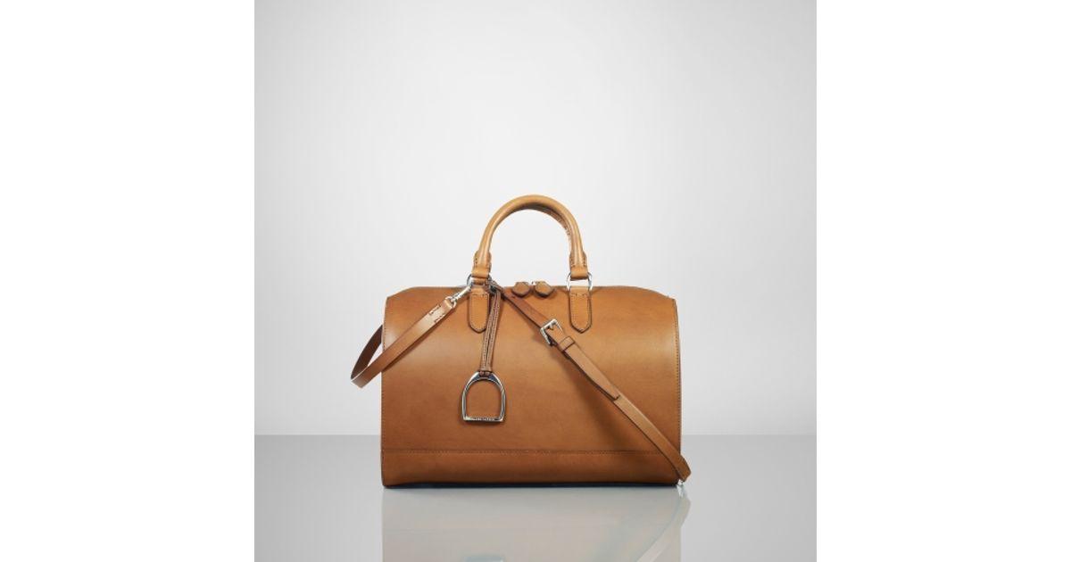 Lyst - Ralph Lauren Vachetta Stirrup Boston Bag in Brown c030ca7ed6460