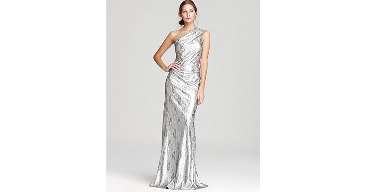 Lyst - David Meister One Shoulder Dress Metallic Sequin Lace in Metallic