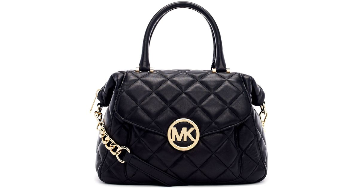 e5fb9a0241ca MICHAEL Michael Kors Large Fulton Quilted Leather Satchel Bag in Black -  Lyst