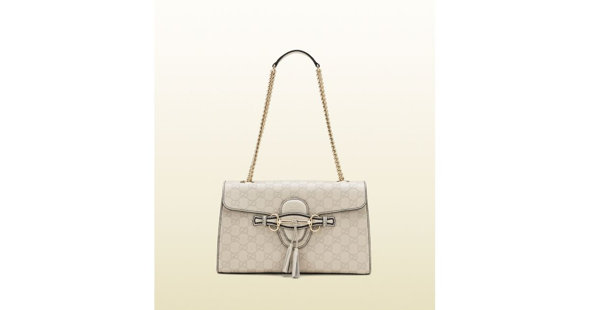 6c6f79d70e4 Lyst - Gucci Emily Ssima Leather Chain Shoulder Bag in Natural