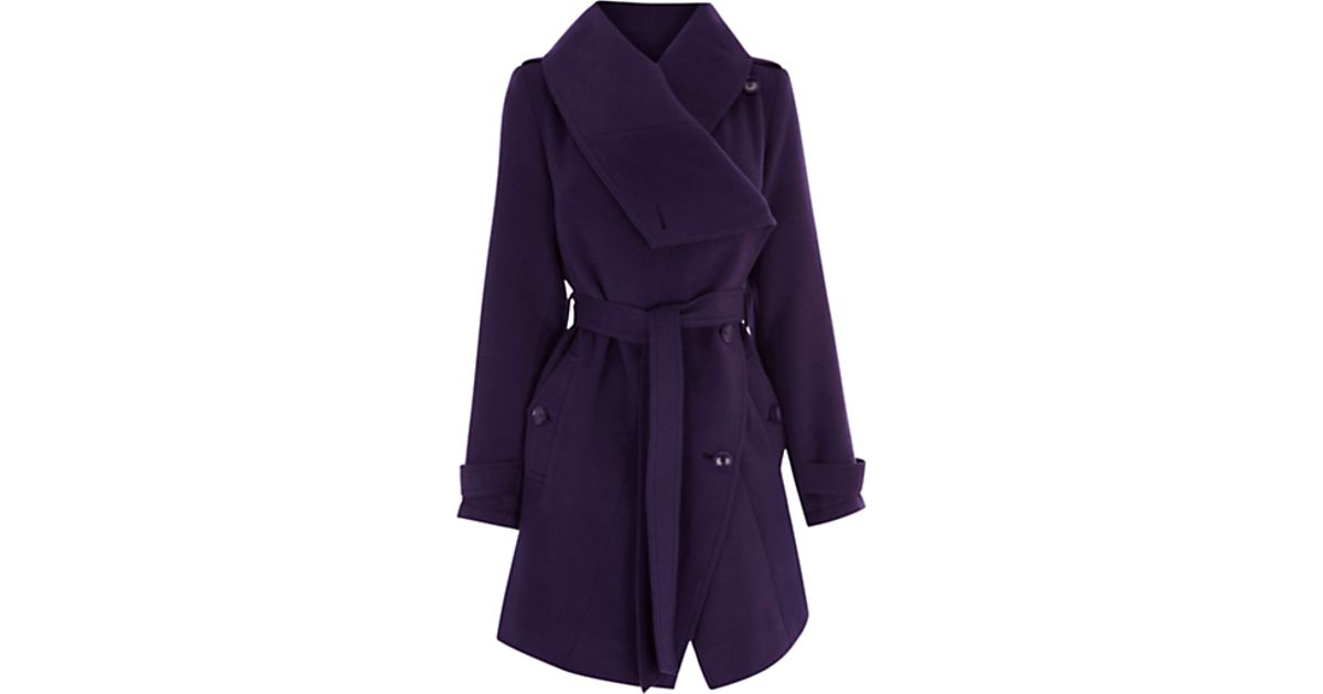 6a450d8f4371 Oasis Oasis Tokyo Cowl Coat Dark Purple in Purple - Lyst