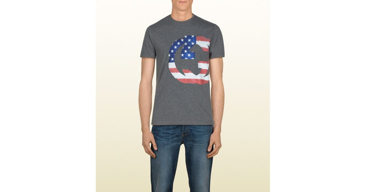4c07617cffdb5a Lyst - Gucci Limited Edition Flag Tshirt in Gray for Men