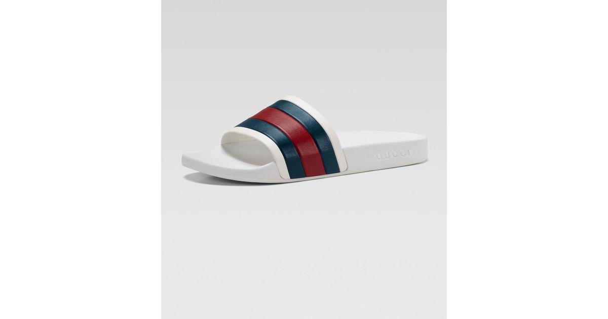 41c2df541ff6 Gucci White Rubber Slide Sandal in White for Men - Lyst