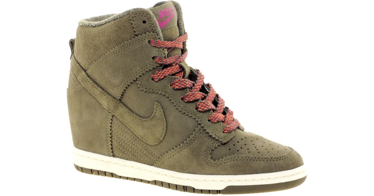 huge discount 8f315 72699 ... uk lyst nike dunk sky high olive wedge trainers in natural b7899 ea47d