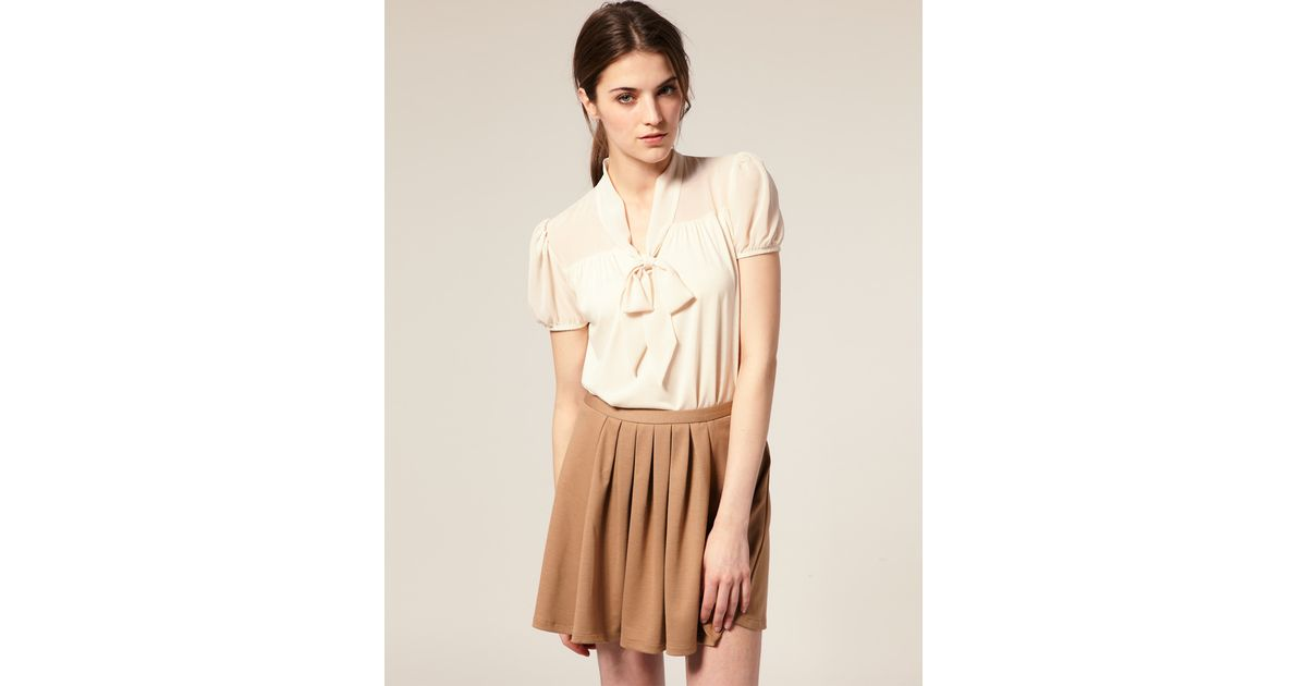 c757389f2f ASOS Collection Short Sleeve Chiffon Mix Pussy Bow Blouse in Natural - Lyst