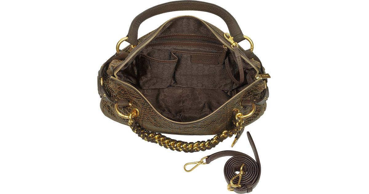 abff1bf68db1 ... where to buy lyst michael kors medium tristan pythonembossed satchel in  brown ff8c5 80b3c ...