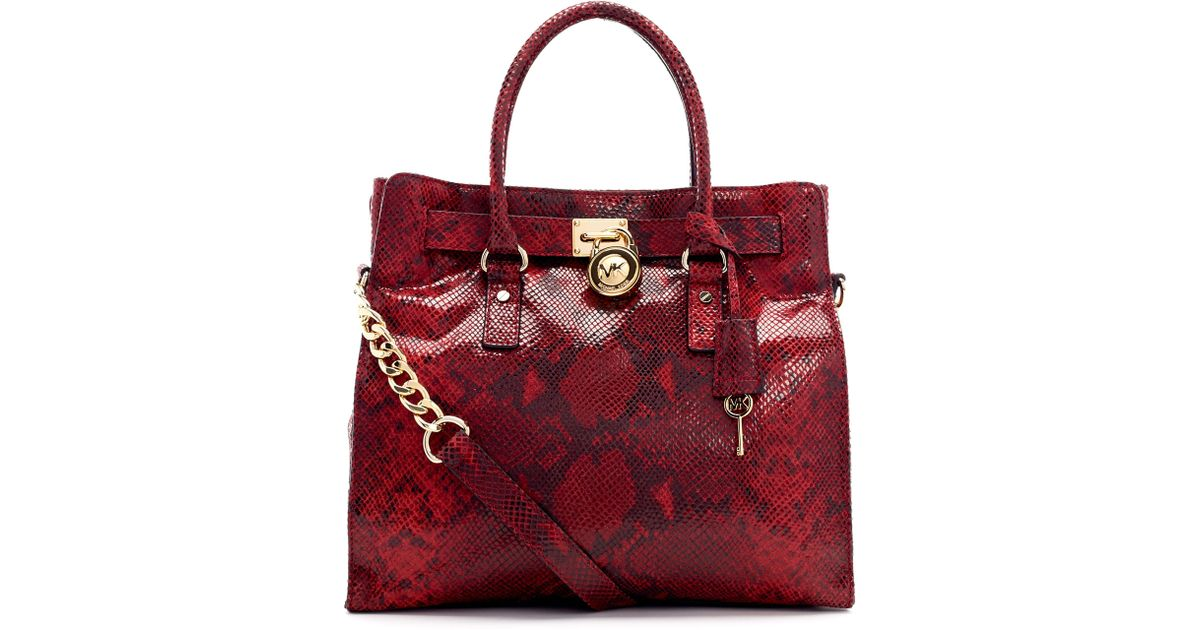 2d401330500 Lyst - MICHAEL Michael Kors Large Hamilton Python-Embossed Tote in Brown