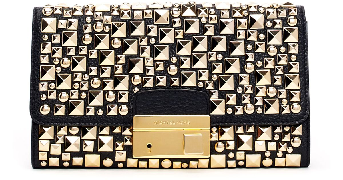 437d19d8ecfa Michael kors Gia Studded Pebbled Leather Clutch Bag in Metal ...