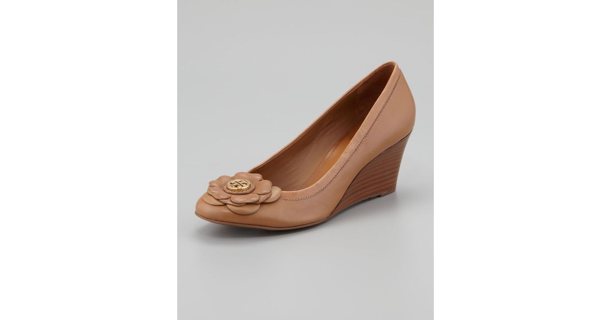 b8c5ae4c615f Lyst - Tory Burch Shelby Floral Logo Wedge Sand in Brown