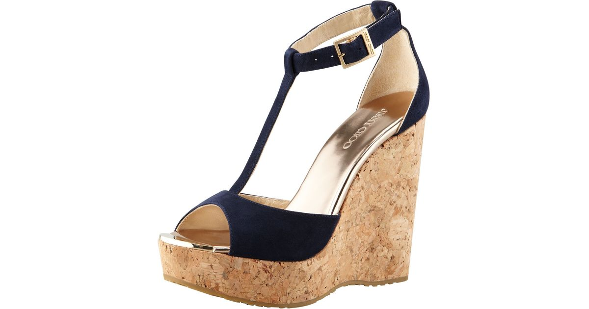 d675a53111d5 Lyst - Jimmy Choo Pela Suede Cork Wedge Sandal in Natural