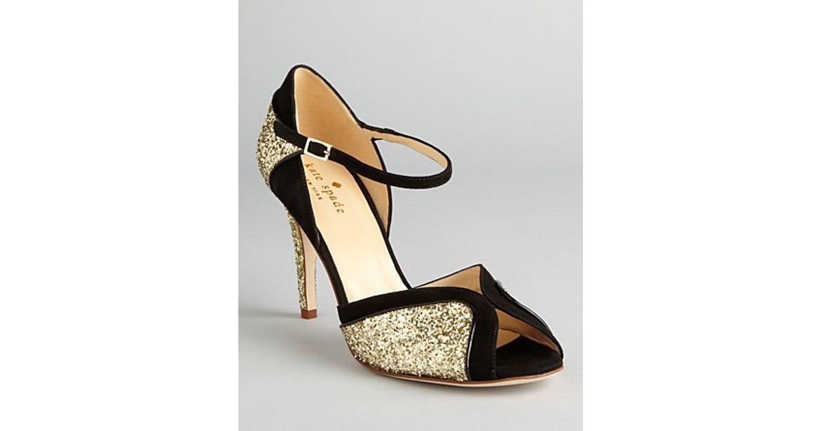9b9508aad46 Lyst - Kate Spade Peep Toe Evening Sandals Corinne High Heel in Metallic