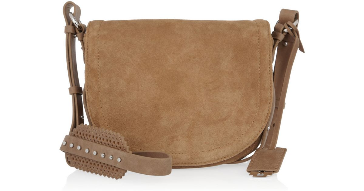 Mcq Amwell Suede Messenger Bag in Brown | Lyst