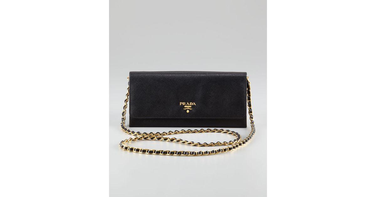 3e09bb29c3cb ... france lyst prada saffiano wallet on a chain nero in black 0979b f3891