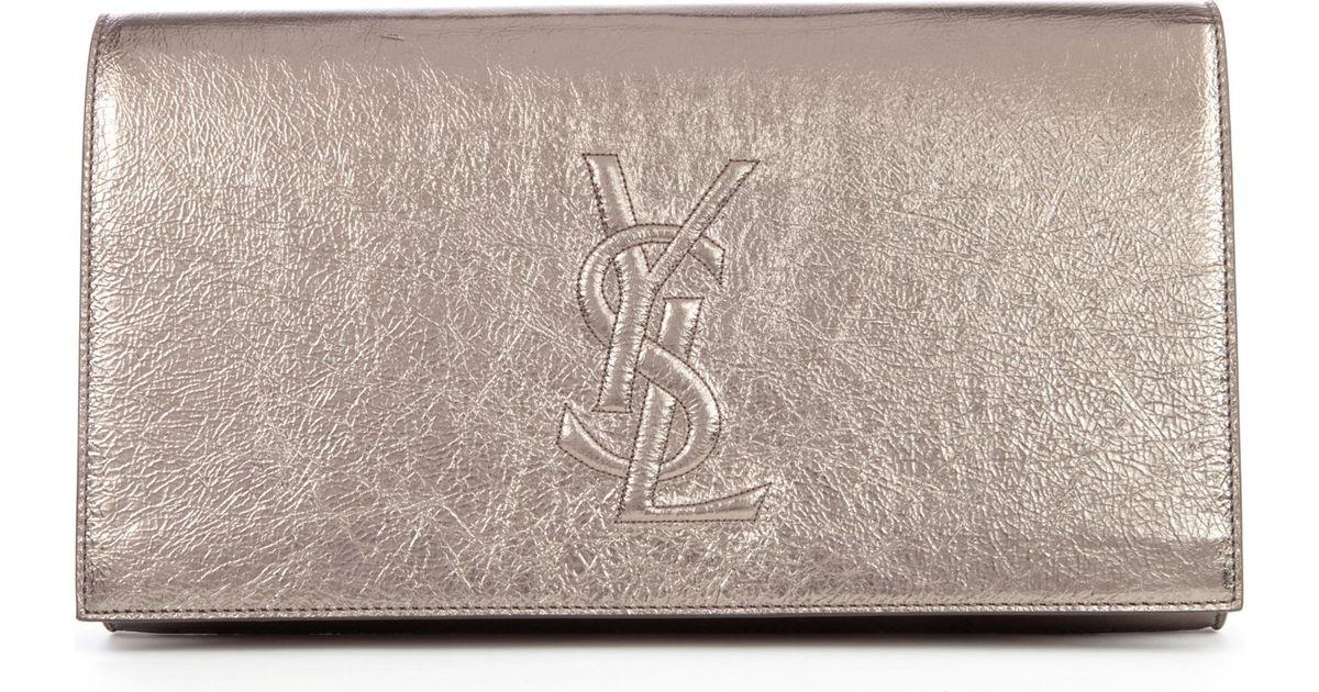 67a34c71c4bd Saint Laurent Belle De Jour Metallic Leather Clutch in Metallic - Lyst