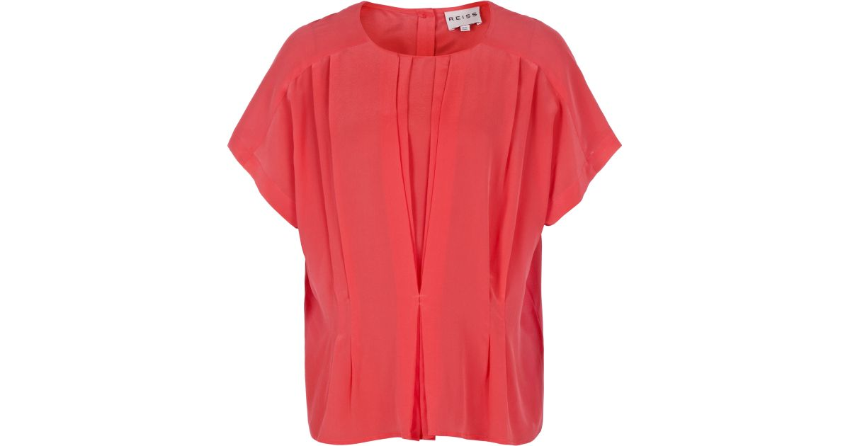 5689f18bd1abdb Reiss Penny Tuck Front Button Back Top in Pink - Lyst