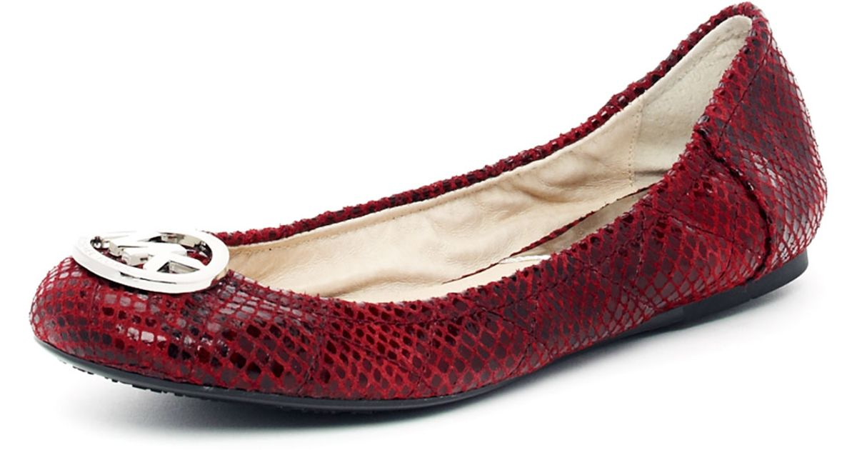 d139bac97a7 Lyst - MICHAEL Michael Kors Fulton Quilted Pythonembossed Ballet Flat in Red