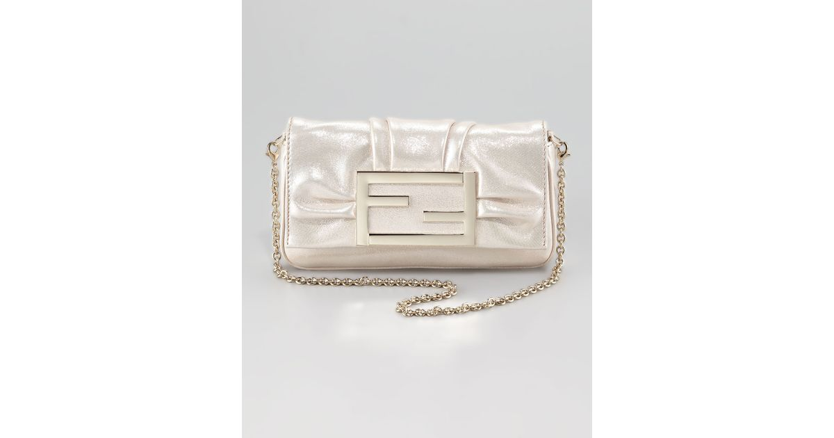 Lyst - Fendi Mia Metallic Crossbody Bag in White ee1b10c5ac983