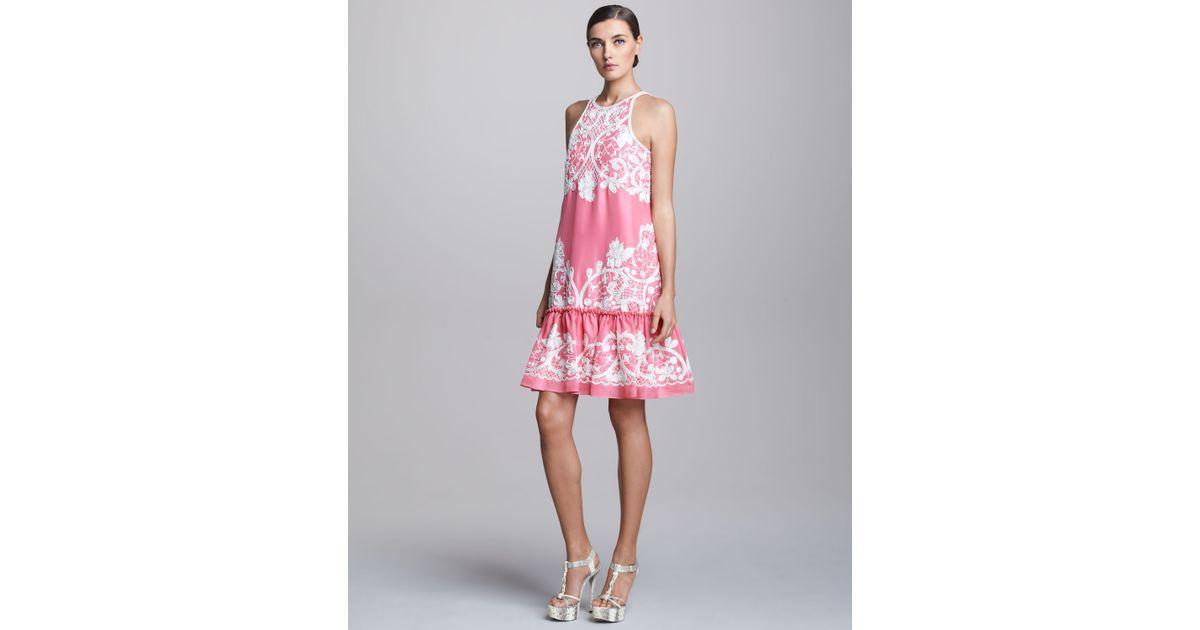 d0b4470666 Lyst - Naeem Khan Embroidered Dropwaist Cocktail Dress in Pink