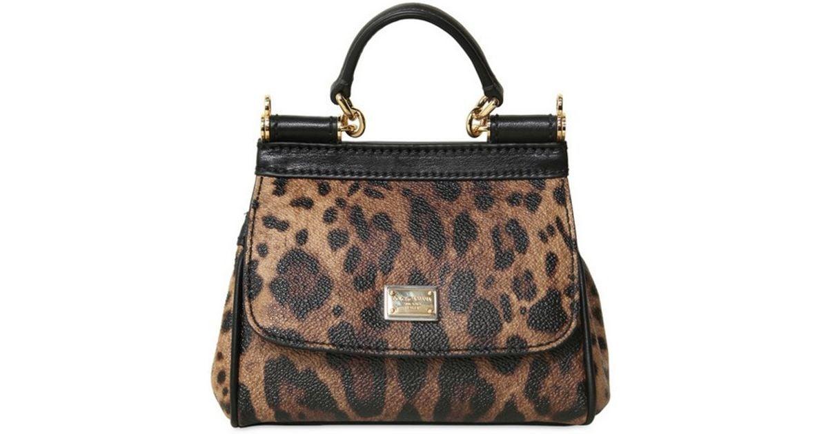 234e68c784 Lyst - Dolce   Gabbana Mini Miss Sicily Leopard Print PVC Bag in Brown