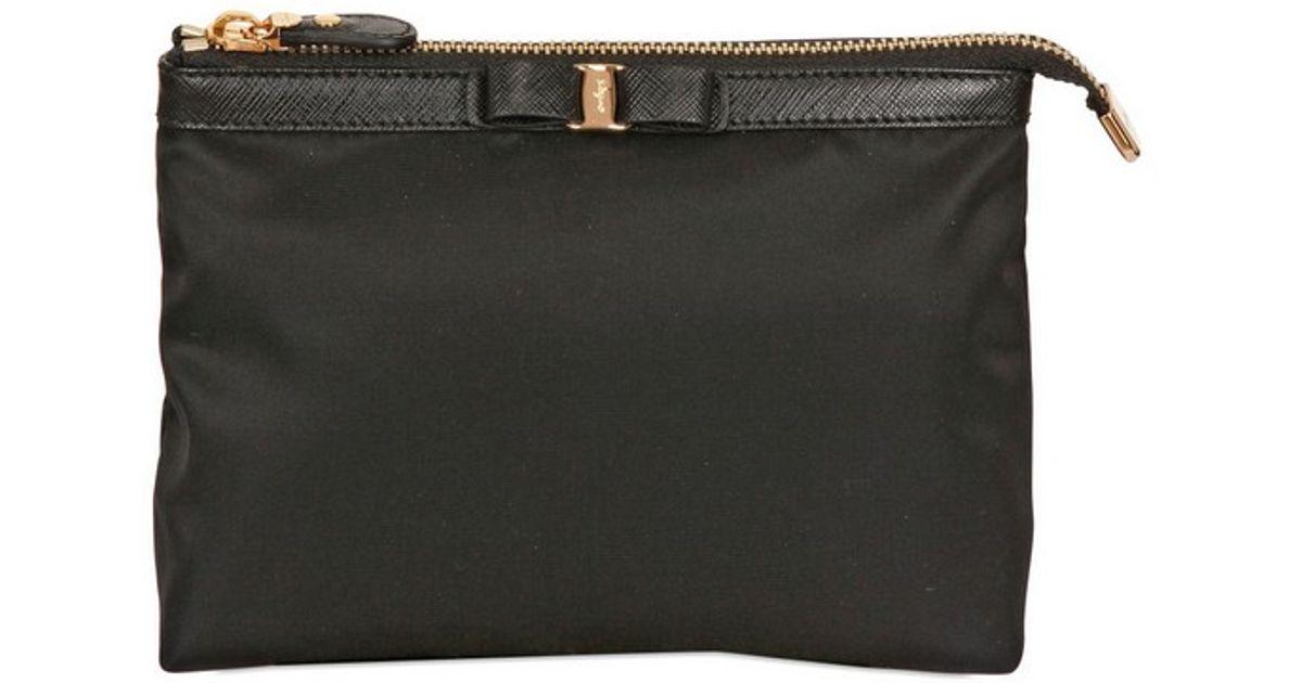 5fc899c4e7 Lyst - Ferragamo Grosgrain Bow Nylon Pouch in Black