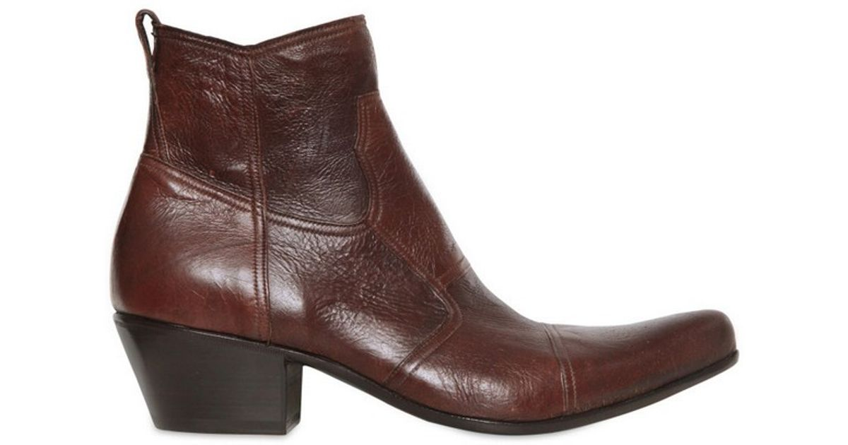gianni barbato wrinkled leather low boots in brown for